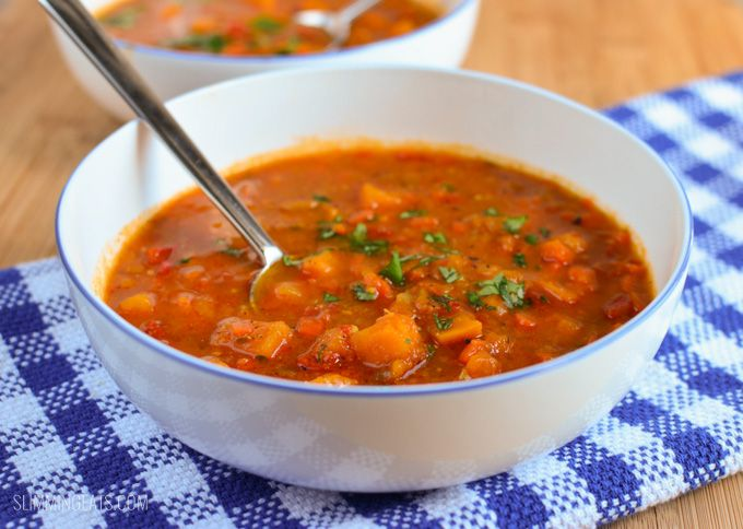 Slimming Eats Spicy Sweet Potato, Red Pepper and Carrot Soup - gluten free, dairy free, vegetarian, paleo. Whole30, Slimming World and Weight Watchers friendly