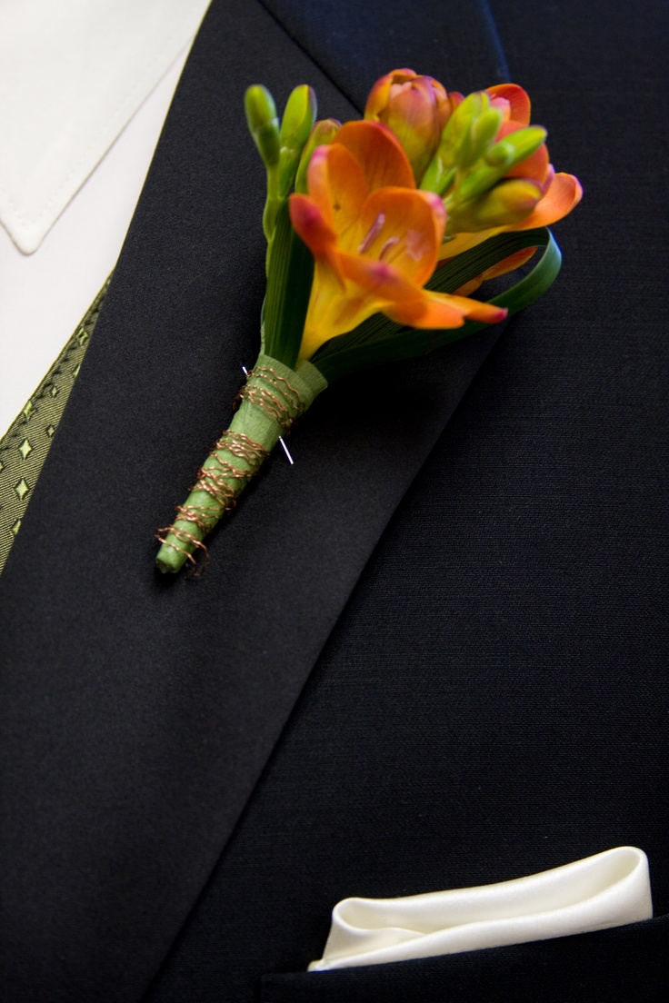 Orange Groom's Boutonniere by Blume Events www.idoaz.com