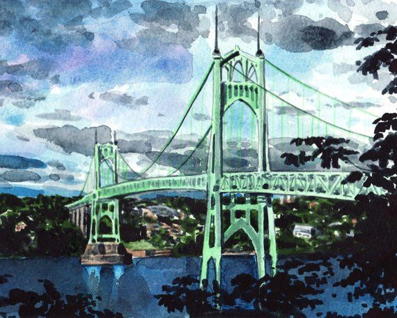 St Johns Bridge Art Portland Painting Portland Oregon Art