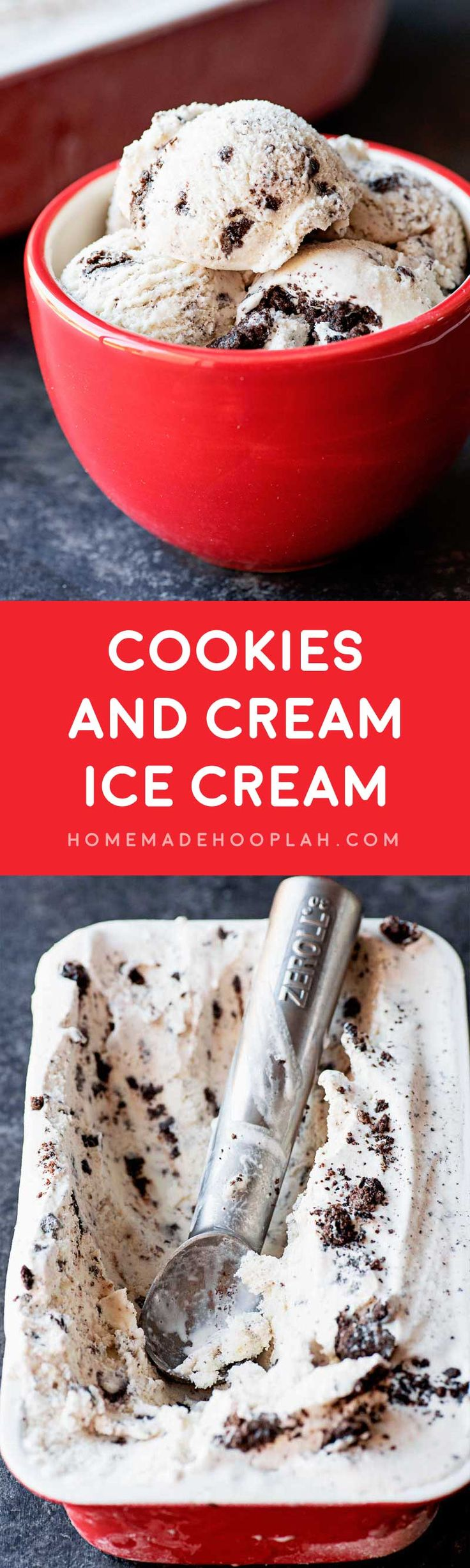 Cookies and Cream Ice Cream! Delicious cookies and cream ice cream made right at home (and with no eggs in the recipe.) Customize it to your tastes with your favorite cookie! | HomemadeHooplah.com