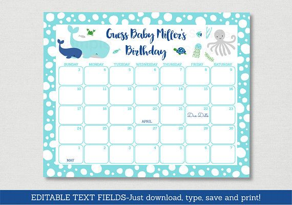 Nautical Under The Sea Baby Due Date Calendar / Nautical Baby Shower / Under The Sea Baby Shower / INSTANT DOWNLOAD Editable PDF A179
