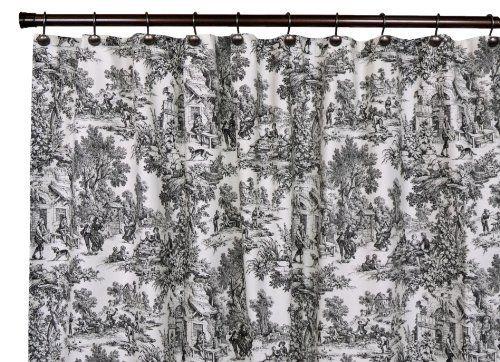 Toile Bathroom Ideas: Victoria Park Toile Bathroom Shower Curtain, Black By