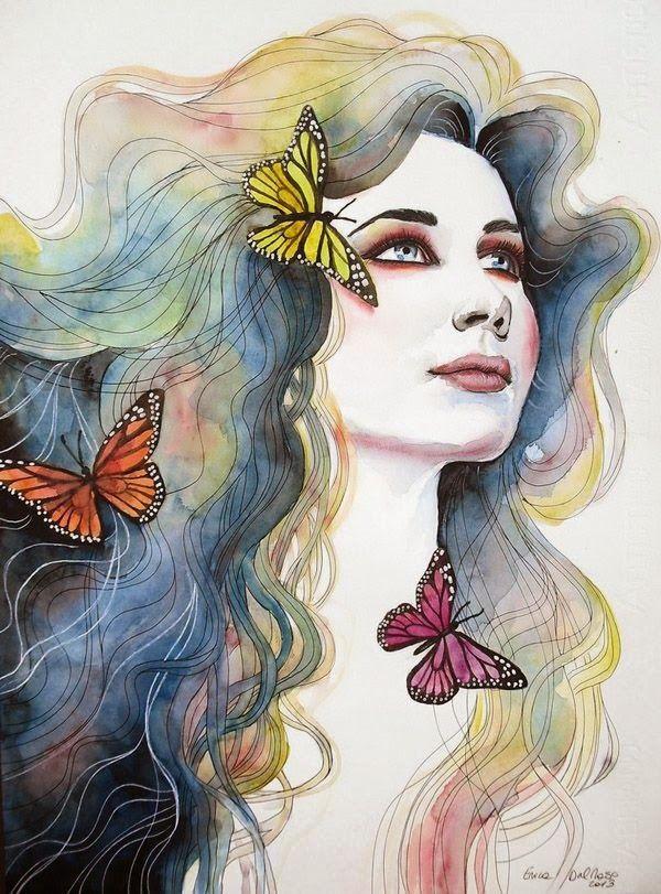 Tecnica de acuarela mariposas y mujer