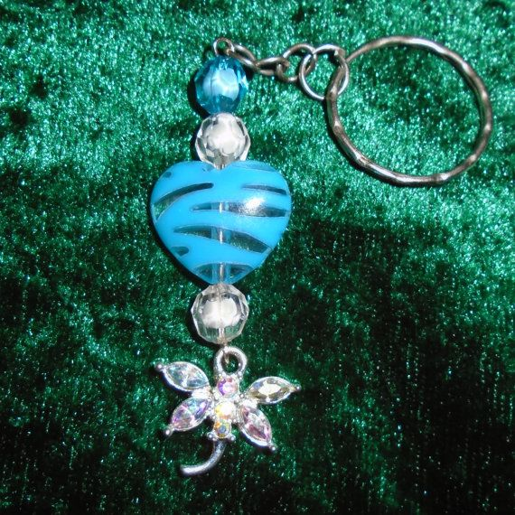 Keyring  Diamante Dragonfly Heart Blue  Free UK by KasumiCrafts