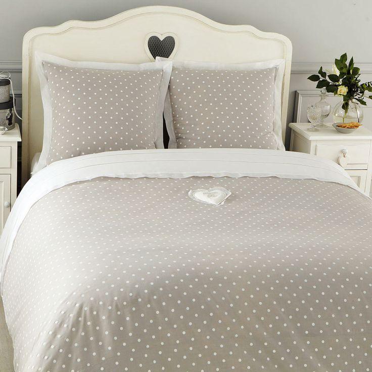 Parure da letto a pois 220 x 240 cm grigia in cotone DOUCEUR