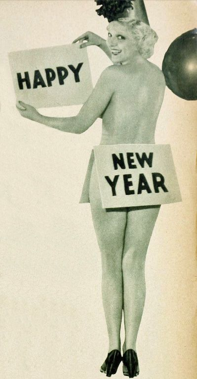 """Thelma White (1910-2005) wishes the readers of """"Hollywood"""" magazine a scantily clad Happy New Year, January 1934"""