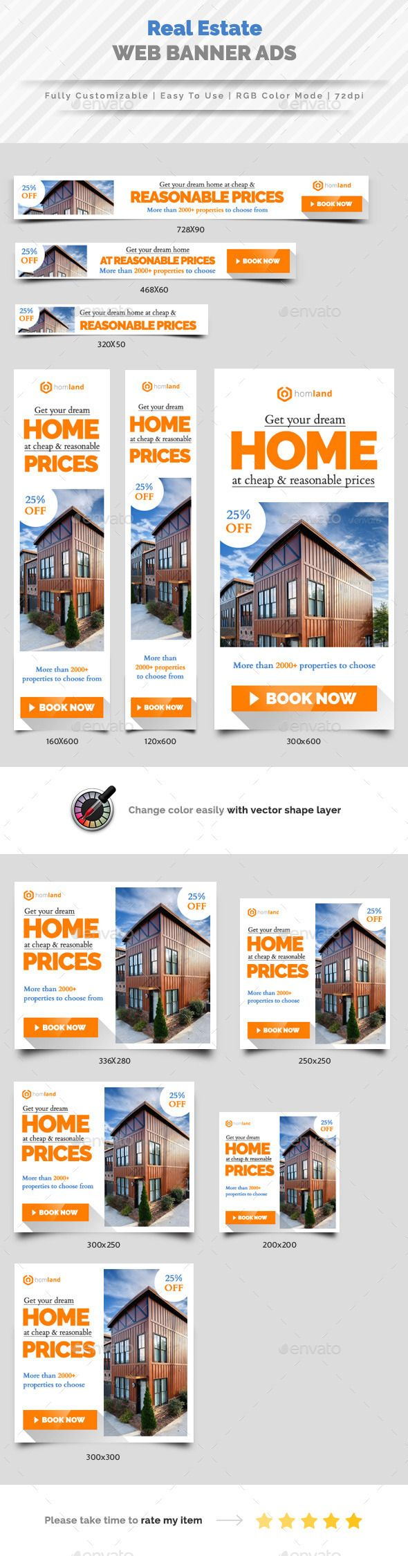 Real Estate Agency Web Banner Ads Template PSD #design Download: http://graphicriver.net/item/real-estate-agency-web-banner-ads/13689824?ref=ksioks