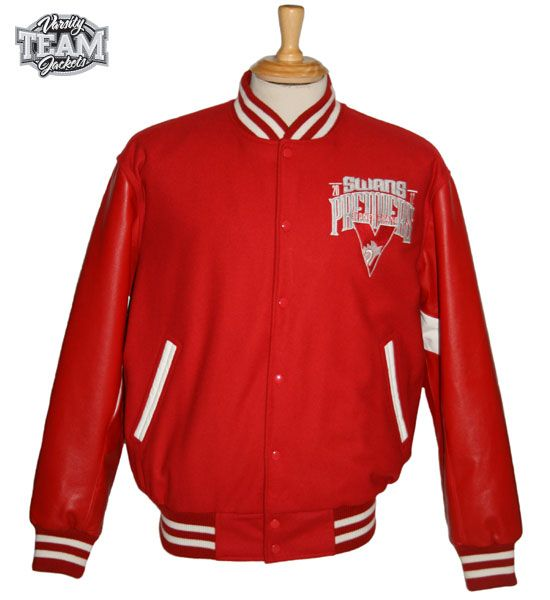 Sydney Swans AFL Premiership wool body and leather sleeves embroidered varsity jacket front by Team Varsity Jackets. www.facebook.com/TeamVarsityJackets  www.teamvarsityjackets.com.au
