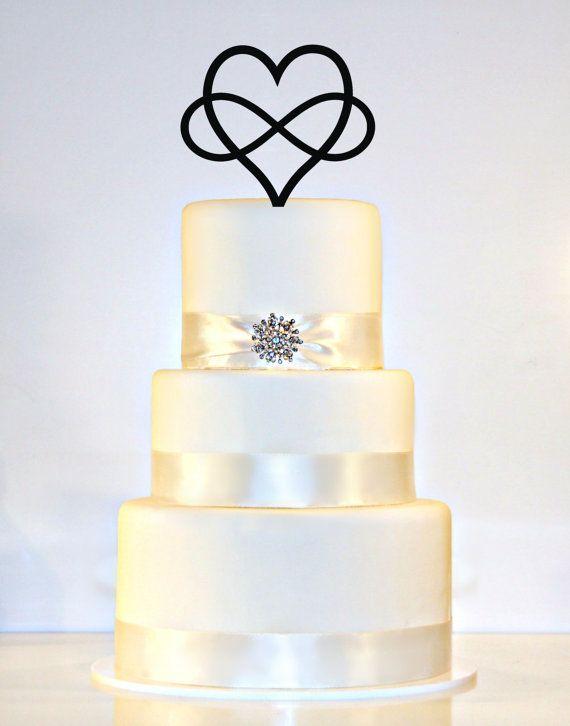 Infinity Open Heart Wedding Cake Topper by WyaleDesigns on Etsy