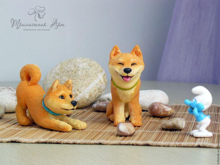 Купить Статуэтки собак породы Сиба-Ину - рыжий, собаки, собака, сиба-ину, статуэтка
