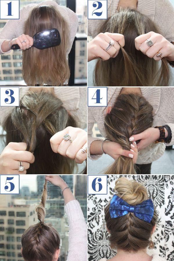Reverse French Braid Bun How To - Braided Bun Bow Hairstyle Tutorial - Seventeen
