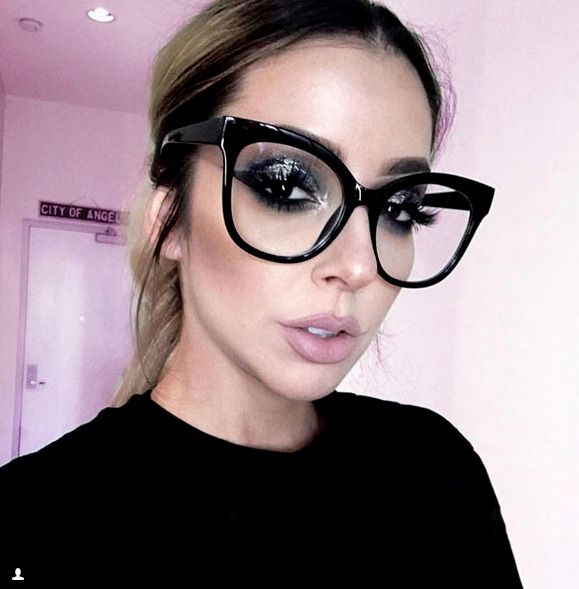 Details about XXL OVERSIZED Cat Eye MISS GORGEOUS Clear Lens Eyeglasses Glasses SHADZ