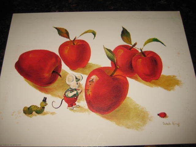 Sarah King VTG Art Print 9x12 Mouse Apple Catepillar LadyBug Donald Art #6648