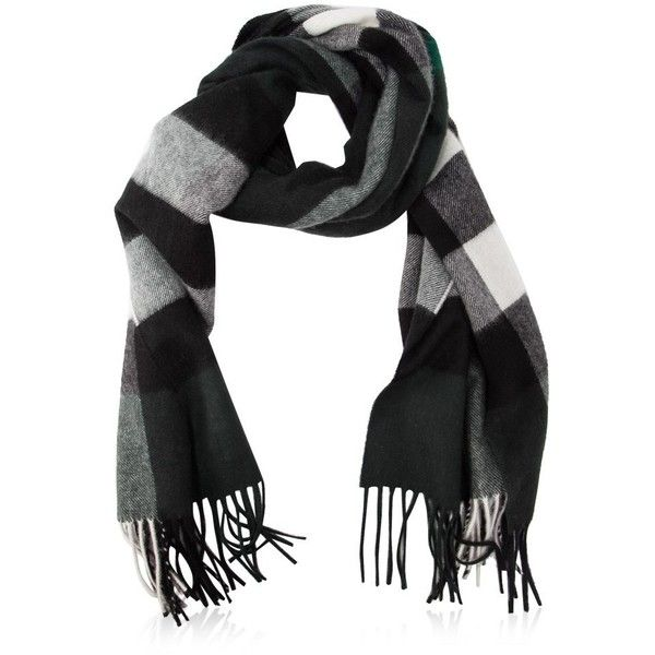 Burberry Half Mega Check Cashmere Scarf (1.360 BRL) ❤ liked on Polyvore featuring men's fashion, men's accessories, men's scarves, green, burberry mens scarves and mens cashmere scarves