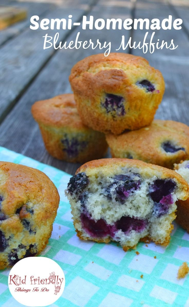 Semi-Homemade Blueberry Muffins. Use a pancake or muffin mix to make this short cut delicious blueberry muffin! - http://KidFriendlyThingsToDo.com