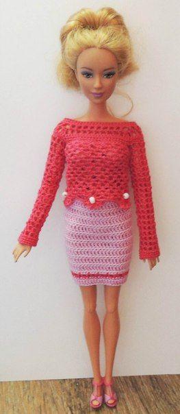 clepick: наряды для кукол типа Барби крючком - Kimberly Club. Одежда для кукол.