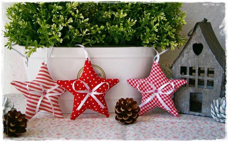 3 Sterne♥Baumschmuck♥Rot♥Weihnachten von Little Charmingbelle auf DaWanda.com