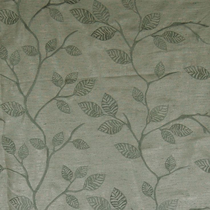 Viridian Grey Gray Asian Embroideries Upholstery Fabric