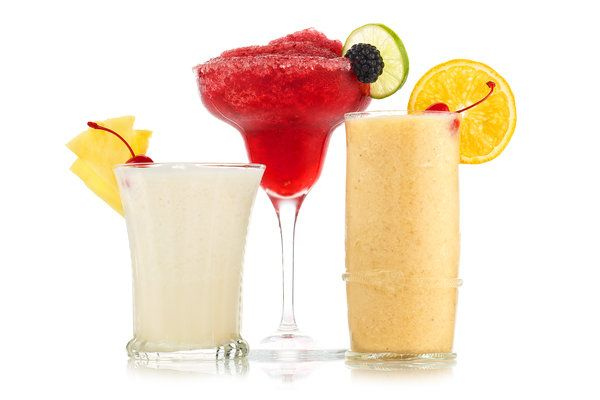 The Cool Side of Campy Frozen Drinks  by Rosie Schaap, nytimes: Recipes for Frozen Blackberry Margarita, Frozen Banana Daquiri and Frozen Pina Colada. #Cocktails #Frozen