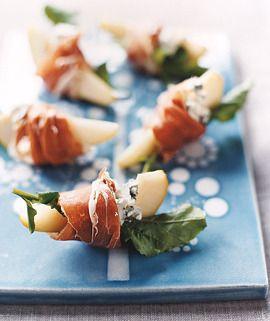 Pears blue cheese proscuito. Poire, fromage bleu et proscuitto / Imprimée