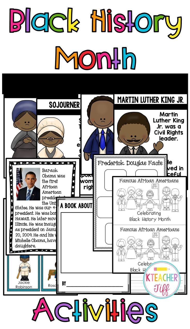 Black history month unit for kindergarten, first grade, or second grade. I love that this has mini biographies, emergent reader, and posters! Famous Americans include Martin Luther King Jr., Rosa Parks, Harriet Tubman, Barack Obama, Ruby Bridges, Sojourner Truth, Frederick Douglass, and Jackie Robinson.