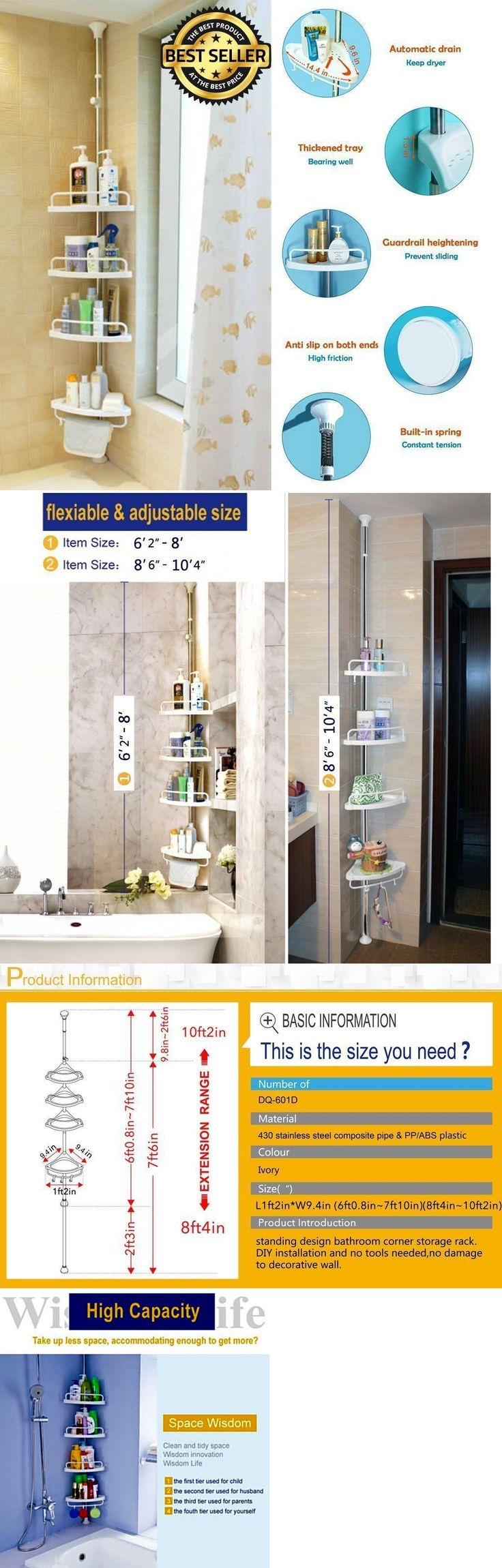 cele mai bune 25 de idei despre corner shower caddy pe pinterest bath caddies and storage 54075 4 tier bathroom constant tension pole corner shower caddy