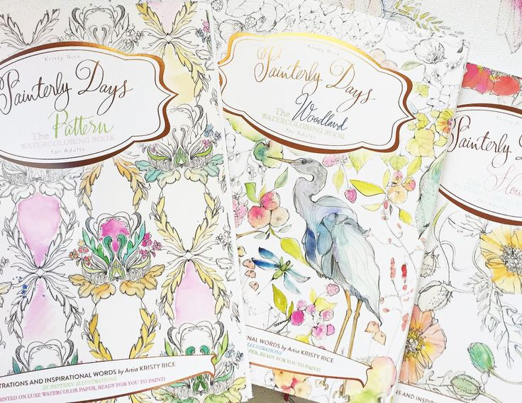 watercolor coloring books by kristy rice painterly day flowers woodland and patterns watercoloring books for adults wait til you see the gorgeous paper - Watercolor Coloring Book