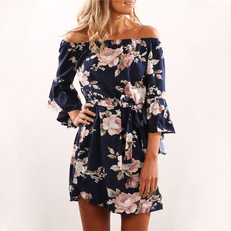 Sexy Off Shoulder Floral Print Chiffon Dress  FREE Shipping Worldwide
