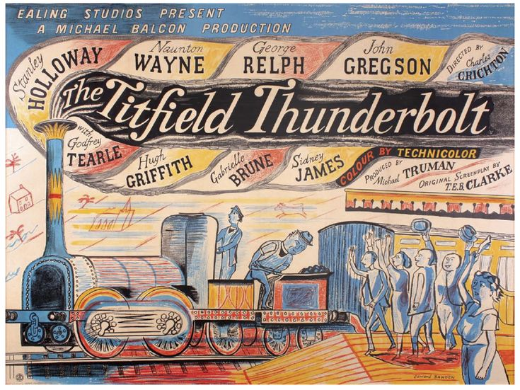Edward Bawden — The Titfield Thunderbolt (1953) Two posters for... Love these colours!