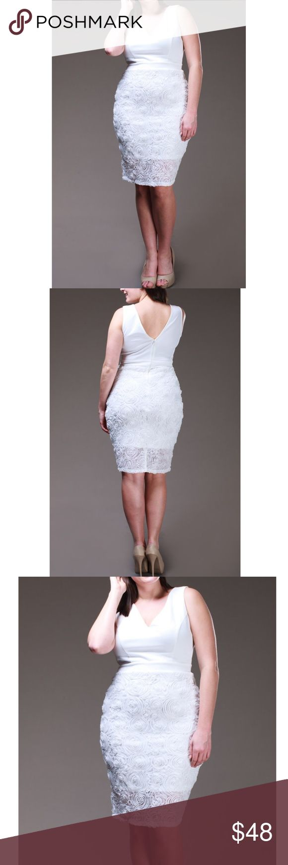 Plus White Floral Mesh Rosette Skirt Bodycon Dress Ivory White Bodycon Midi Dress. Featuring a solid double V-neck sleeveless top and a lined mesh Rosette embroidered skirt. Back zip closure. Made of soft stretchy fabric.   Size 1X 14/16: Bust 36-41 Waist 32-35 Hips 40-43 Size 2X 18/20: Bust 42-45 Waist 36-39 Hips 44-47 Size 3X 22/24: Bust 46-49 Waist 40-43 Hips 48-51  Size chart provided as a guidance. Dresses Midi