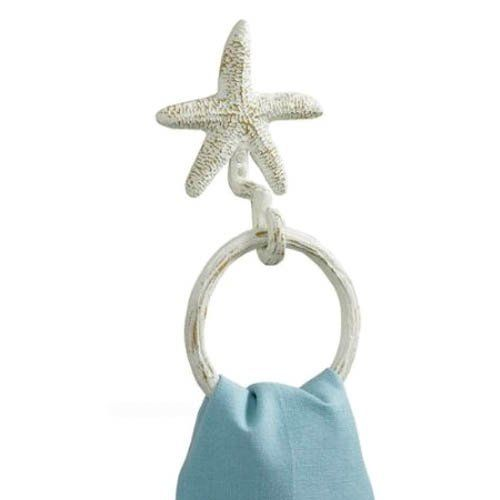 Tropical Nautical Starfish Wall Towel Ring Metal Hook Hanger White