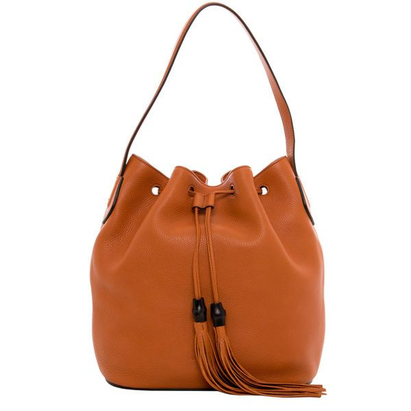 GUCCI Orange Leather Tassel Bucket Bag