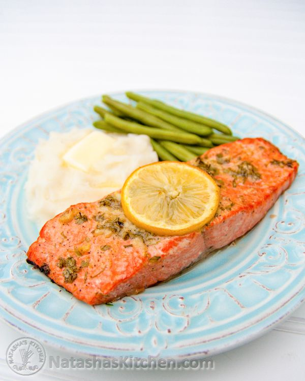 """Baked Salmon with Garlic and Dijon. P.S. thanks to your 148,000+ pins, this salmon shows up on the home page of google for the """"baked salmon"""" search. Whoa Batman! Thanks guys. You're the best of the best! @NatashasKitchen"""