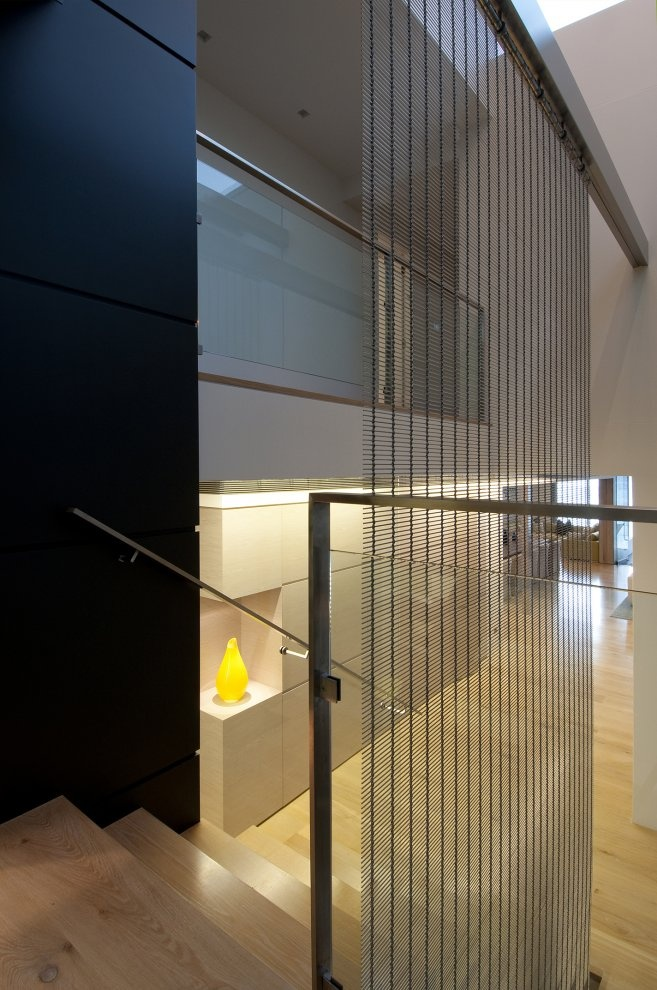Architectural Materials // I Love The Subtle Texture Of The Vertical  Hanging Metal Mesh Screen, It Frames These Modern Stairs So Well. A Vaucluse  Renovation ... Ideas