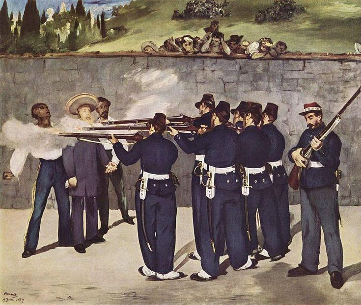 El fusilamiento de Maximiliano (L'Exécution de Maximilien) Édouard Manet, 1867 Óleo sobre lienzo • Impresionismo 252 cm × 305 cm National Gallery de Londres, Inglaterra, Flag of the United Kingdom.svg Reino Unido