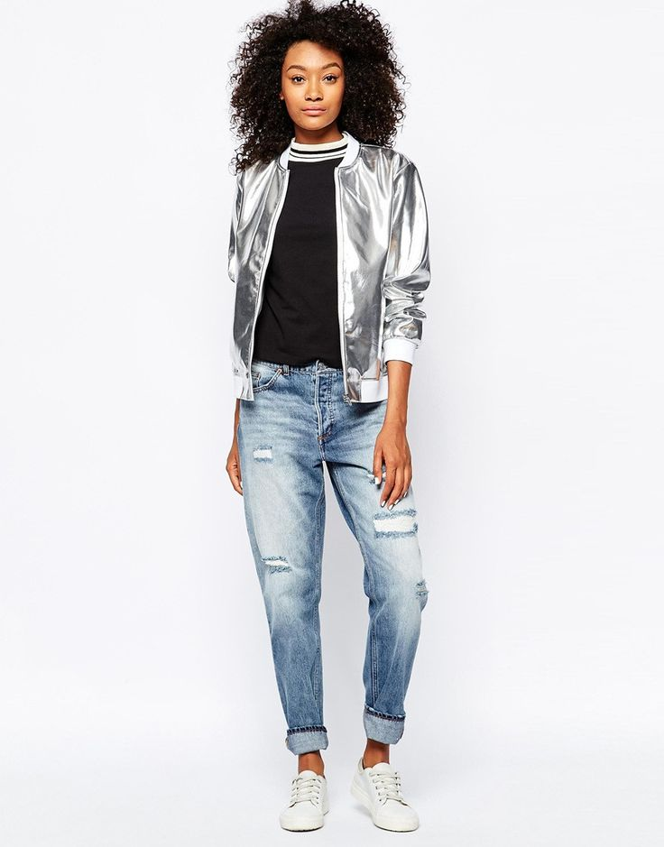 Long-Sleeve Bomber Jacket, Silver - Silvery foiled fabric. - Elastic trim at collar, cuffs, and hem. - Zip front. - Long sleeves. - Viscose/silk; polyester lining.