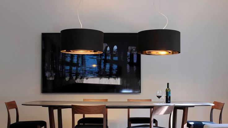 Circle pendant lamp for both direct and diffused light.