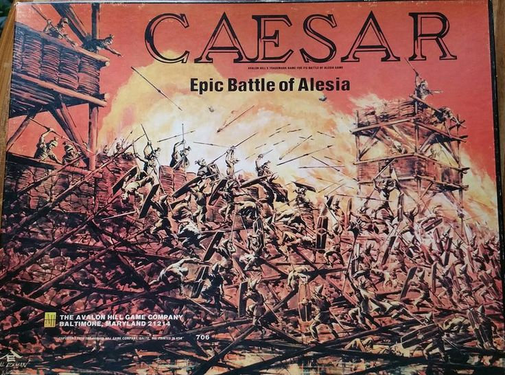 Caesar at Alesia (Siege of Alesia) (Epic Battle of Alesia) was released by Avalon Hill in 1976 and it recreates the battle between the Romans and the Gauls, led by Vercingetorix. The goal of the Gallic player is to move Vercingetorix from the besieged city of Alesia to the edge of the mapboard within a certain time span, and the Romans must capture Vercingetorix or prevent him from moving off the map.