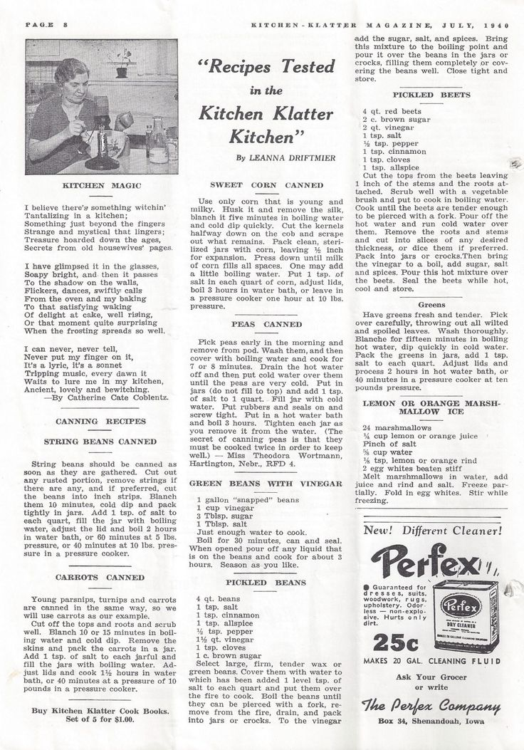 Kitchen Klatter Magazine, July 1940 - Canned Carrots String Beans Sweet Corn Peas, Green Beans with Vinegar, Pickled Beans, Pickled Beets, Lemon or Orange Marshmallow Pie