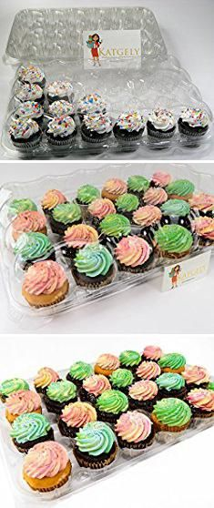 Disposable Cupcake Holders. Katgely Cupcake Boxes Cupcake Containers 24 Pack Cupcake, Set of 4.  #disposable #cupcake #holders #disposablecupcake #cupcakeholders