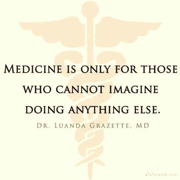 Medicine is only for those who cannot imagine doing anything else.