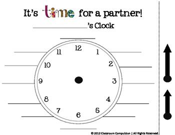 This is a fun way to practice time and manage the classroom.  Your students will make a clock that has a different partner for each hour.  When it'...