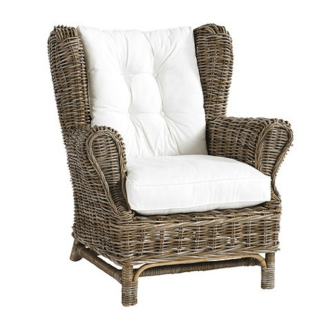 Natural Rattan Charleston Wingback Chair In Driftwood Gray