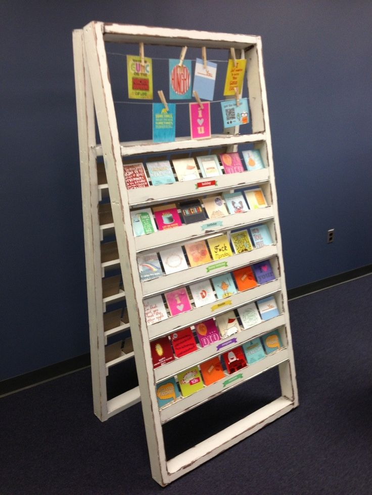 A greeting card display for justWink greeting cards. It's not my style at all, but they loved it. - Imgur