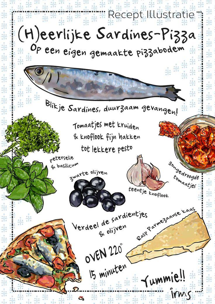(H)eerlijke Sardines pizza, recept illustratie. Lekkere ingrediënten en verse kruiden. Heldere frisse kleur combinatie. Koken met duurzaam gevangen vis is extra lekker.