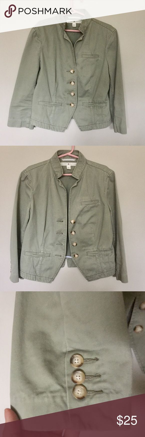 Tommy Hilfiger Green Army Jacket Cute Tommy Hilfiger Jacket.  Green, 100% cotton.  Button up. Faux Pockets Tommy Hilfiger Jackets & Coats Utility Jackets