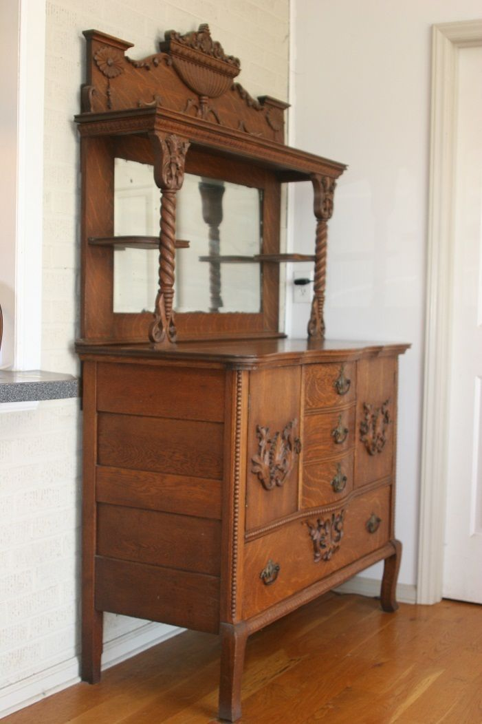 Antique Oak HUTCH Highboy Cabinet sideboard buffet w/ drawers shelf & mirror - 577 Best Antiques Images On Pinterest News, Bedroom And Bedrooms