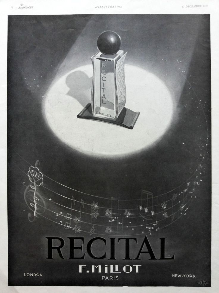 Recital by F. Millot Perfume Ad, French perfume vintage poster, original illustration print, advertising page from French magazine of 1933 by OldMag on Etsy