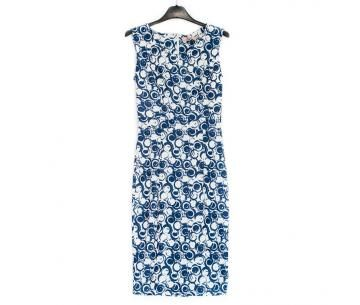 Net zomerjurkje met blauw/witte print