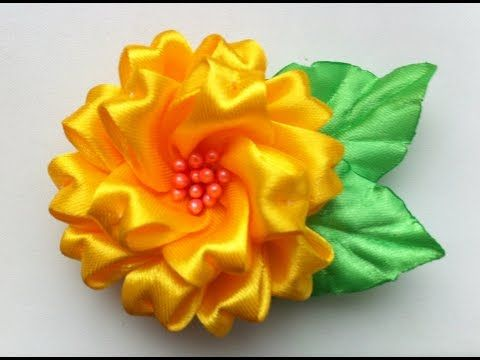 Украшение на заколку Канзаши/Пушистый желтый цветочек. - YouTube